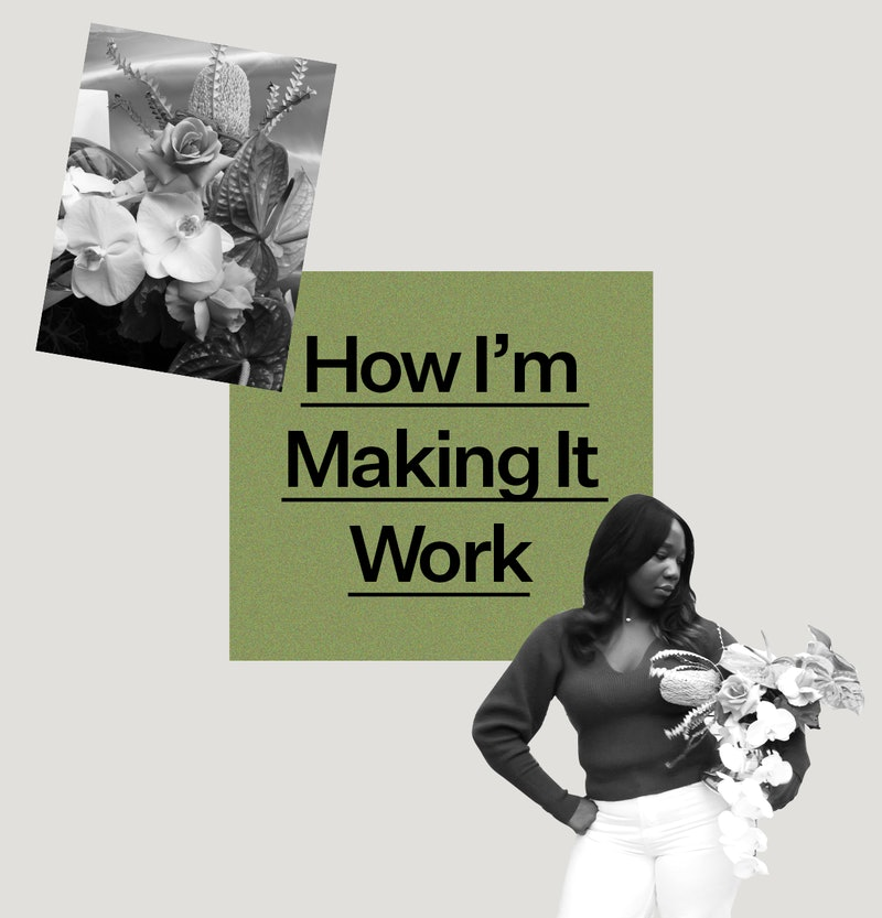 "Jenny Pagel founder of Kanku floristry pictured with a bouquet of her creation and the text ""How I'm Making It Work"""