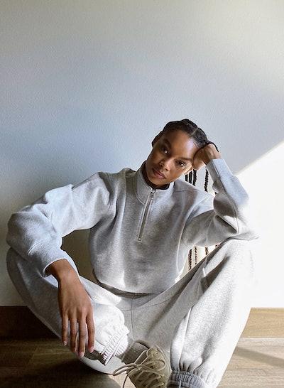 Tna Cozy Fleece Perfect ¼ Zip Sweatshirt and Boyfriend Basic Sweatpant