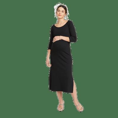 Jersey Shirred Sleeve Midi Dress