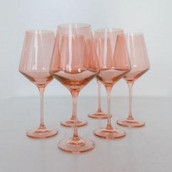 Set of 6 Glass Stemware in Blush