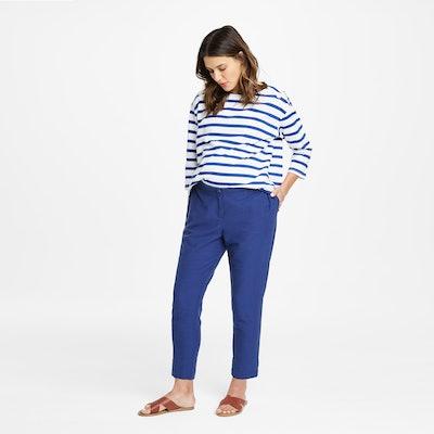 Drop Shoulder Stripe Jersey Cotton Top
