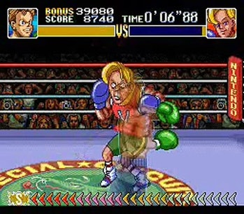 A screenshot showing Narcis Prince comically react to a punch in Super Punch out