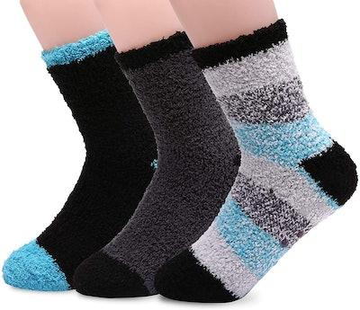 HELN Super Soft Microfiber Slipper Socks (3-Pairs)