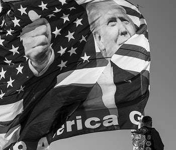 A flag with the face of President Donald Trump