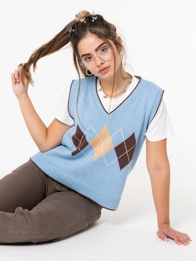 Argyle Knit Sweater Vest