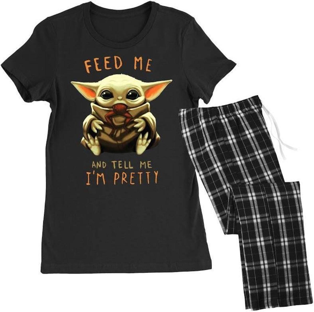 Feed Me And Tell Me I'm Pretty Baby Yoda Women's Pajamas Set