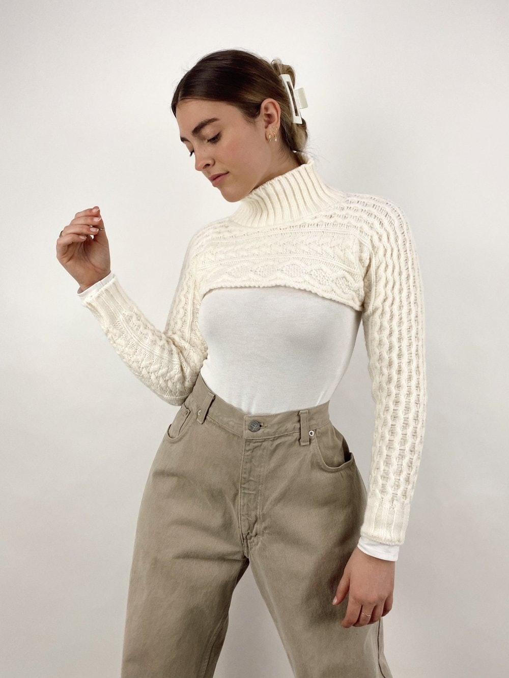 City Escape Cropped Cable Knit Sweater