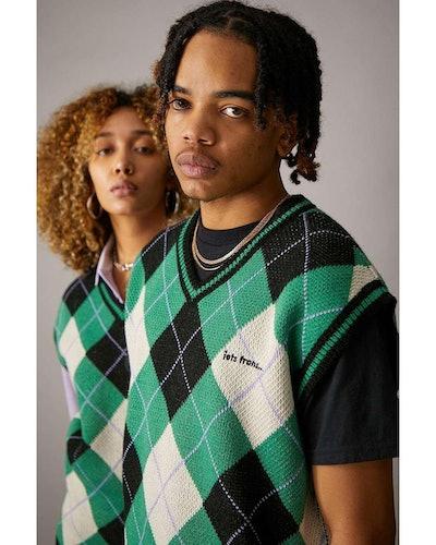 Green & Black Argyle Knitted Vest