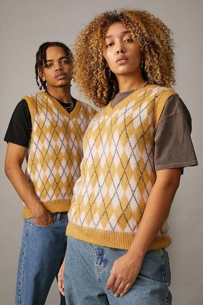 Oversized Knitted Argyle Vest