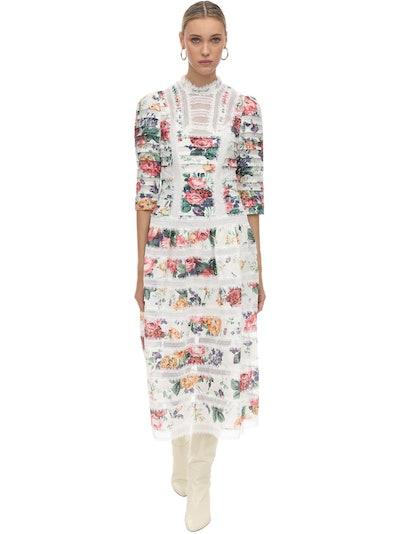 Zimmermann Printed Lace & Linen Midi Dress
