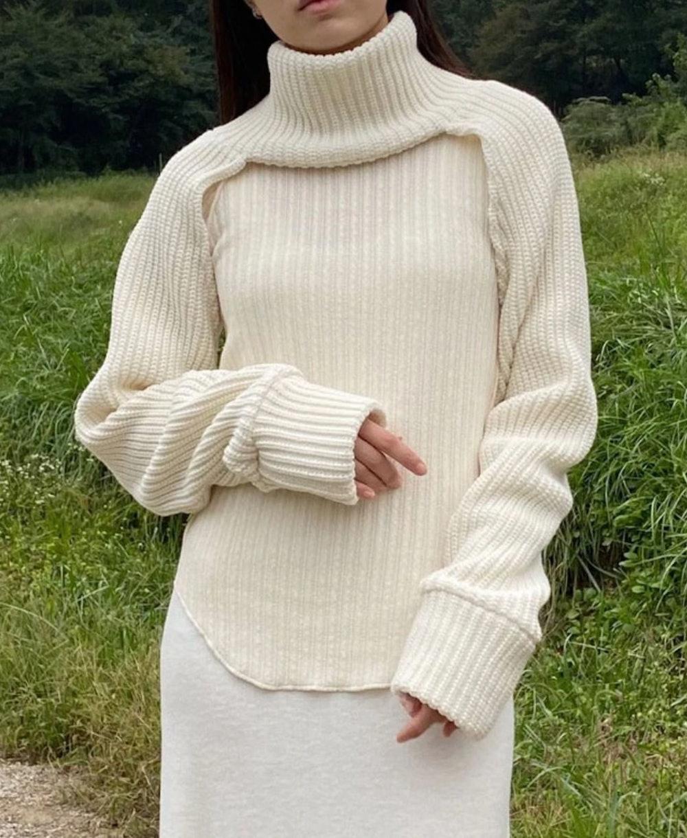 Turtleneck Knit Bolero Sleeve in Ivory