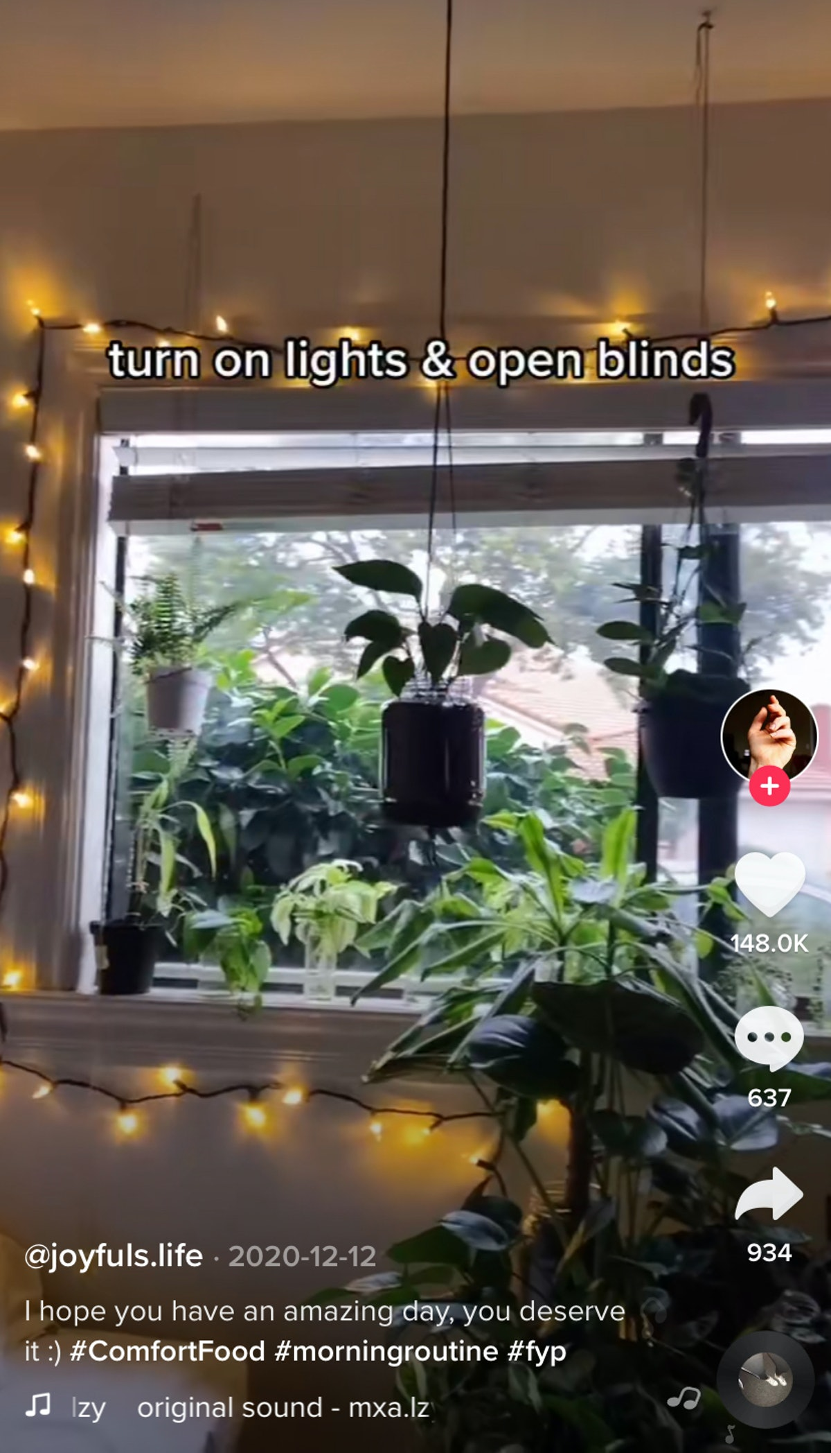 A woman turns on her lights and opens her blinds to start her morning on TikTok.