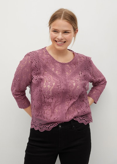 Plus Size Lace Blouse with Ruffles