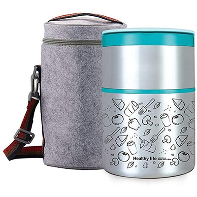 Lille Home Vacuum Insulated Stainless Steel 2-Tier Lunch Box (32 Ounces)