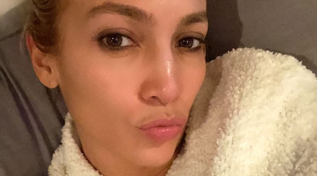 Jennifer Lopez's skin care routine: cleanser, serum, and night cream.