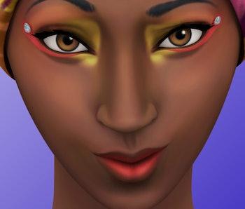 A Sim wearing makeup.