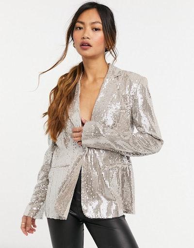 Blazer Co Ord In Rose Gold Sequin