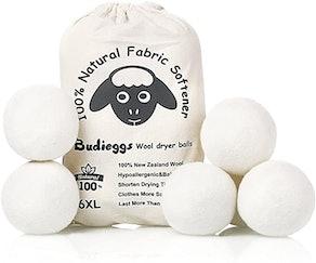 Budieggs Organic Wool Dryer Balls (6-Pack)