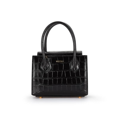Black Croc Diana Bag