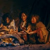 Tribe of Prehistoric Hunter-Gatherers Wearing Animal Skins Grilling and Eating Meat in Cave at Night
