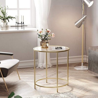VASAGLE Round Tempered Glass Side Table