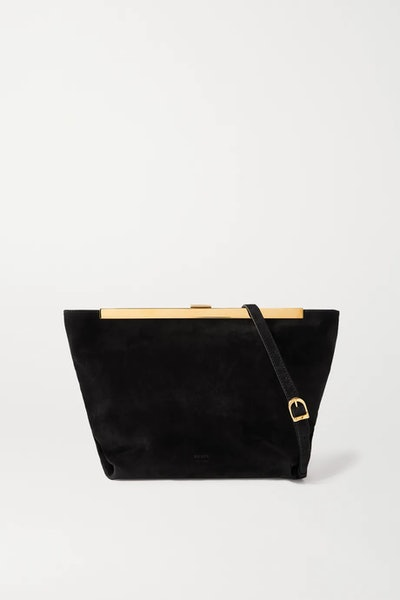 Augusta Envelope Pleat Suede Shoulder Bag