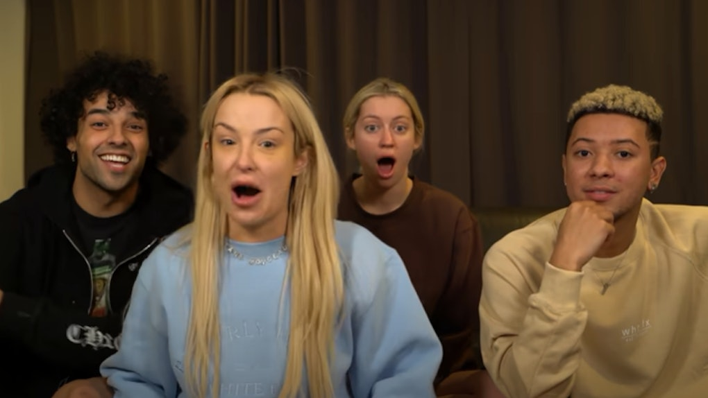 "A Screenshot From Tana Mongeau's Video Reaction To Bella Thorne's ""SFB."""