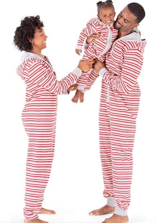 family in valentine's pajamas