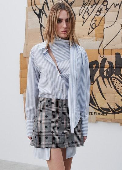 Monse Polka Dot Plaid Extended Pocket Mini Skirt