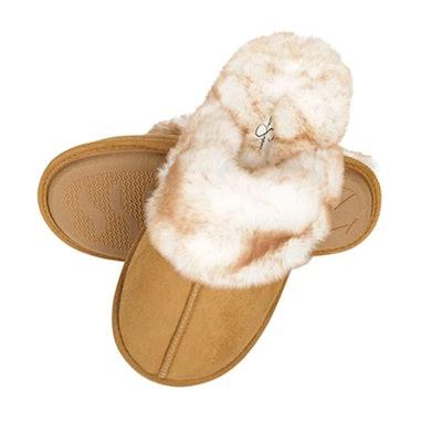 Jessica Simpson Faux-Fur Memory Foam Slippers