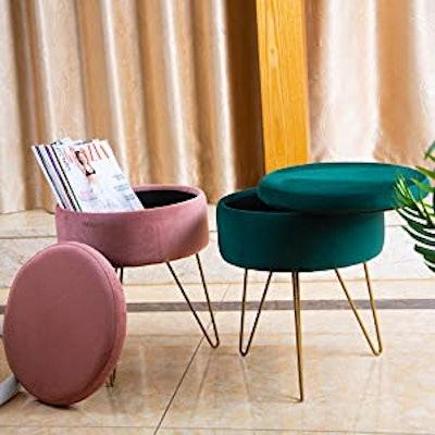 Glzifom Velvet Round Storage Ottoman Chair