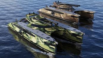 The war machine versions of the Crabamaran yacht.
