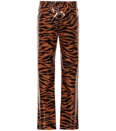 Tiger-print vinyl pants