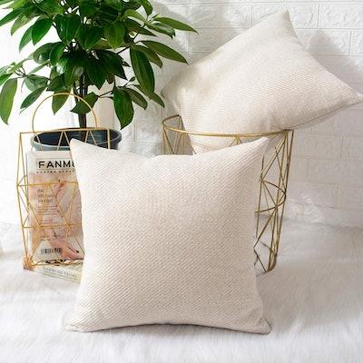 MERNETTE Chenille Throw Pillow Covers (2-Pack)