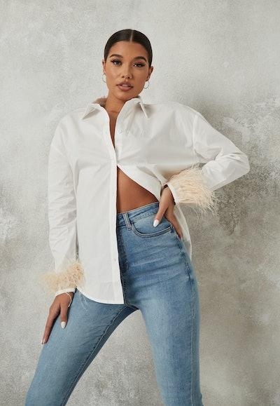 White Extreme Oversized Feather Trim Shirt