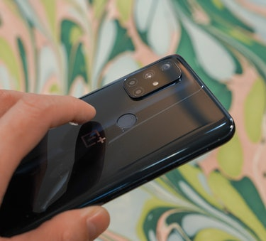 There's a fingerprint reader on the back of the OnePlus Nord N10 5G, but it's slower than OnePlus's in-display sensors.