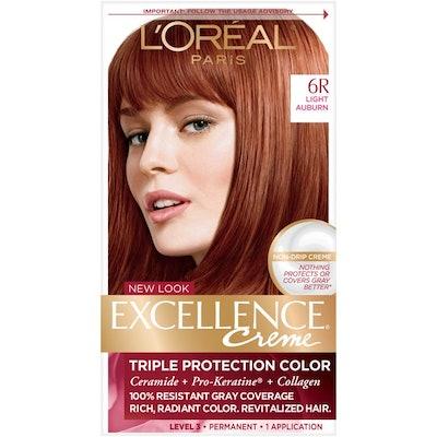 Excellence Créme Permanent Triple Protection Hair Color in 6R Light Auburn