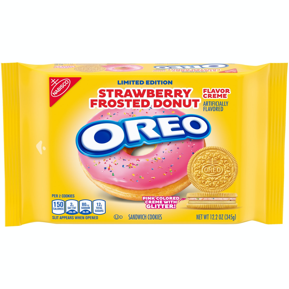 Oreo's new Strawberry Frosted Donut flavor features two different flavored cremes.