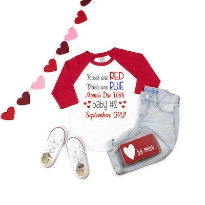 PurpleElephantSTL Valentine's Pregnancy Announcement Shirt