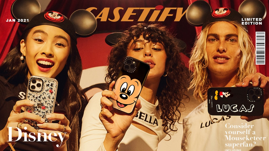 The Disney x CASETiFY collection includes old designs of Mickey Mouse paired with a modern phone case.