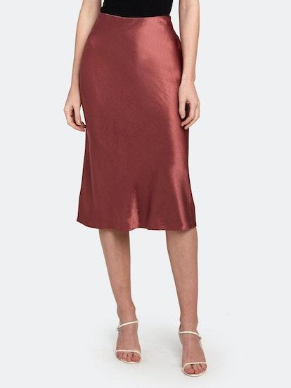 Satin Slip Midi Skirt