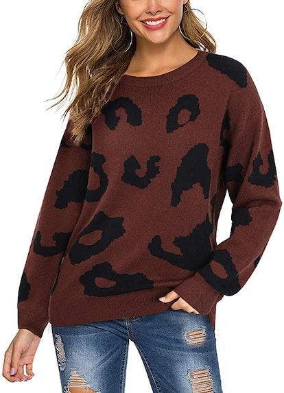 LAISHEN Leopard Print Sweater