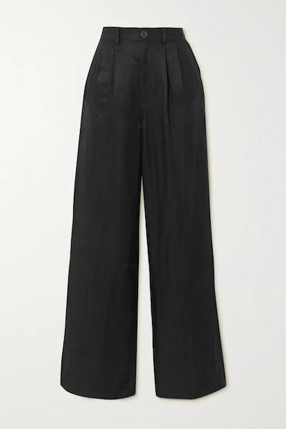 Carla pleated twill wide-leg pants