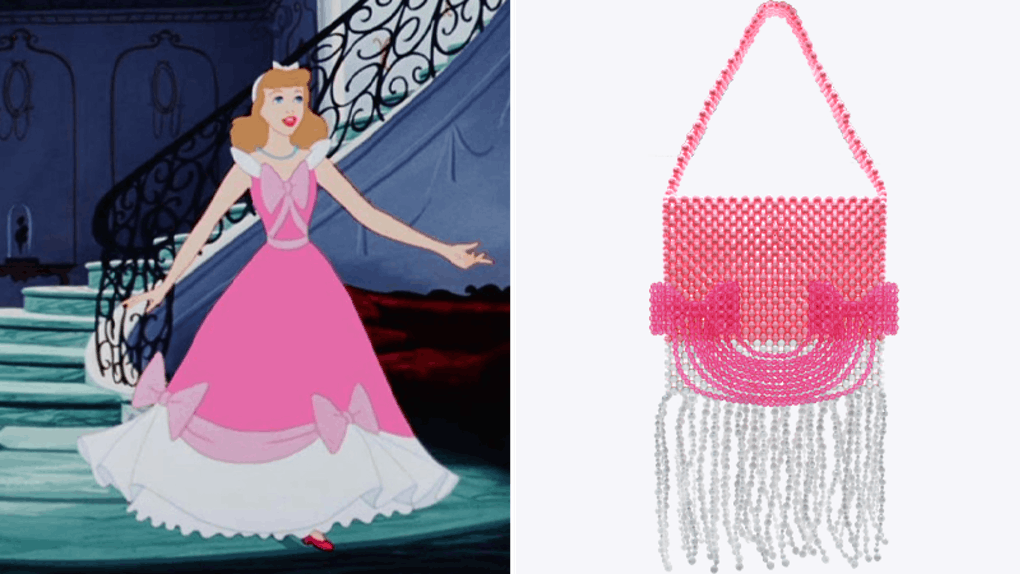 A Susan Alexandra pink bag is inspired by the pink gown Cinderella wears in the Disney movie.