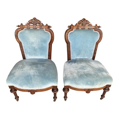 John Jelliff Victorian Velvet and Walnut Chairs - a Pair