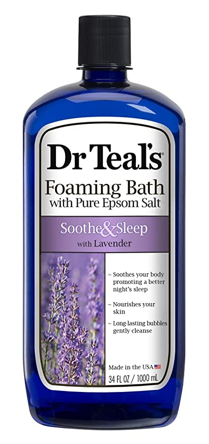 Dr Teal's Foaming Bath with Pure Epsom Salt, Soothe & Sleep with Lavender