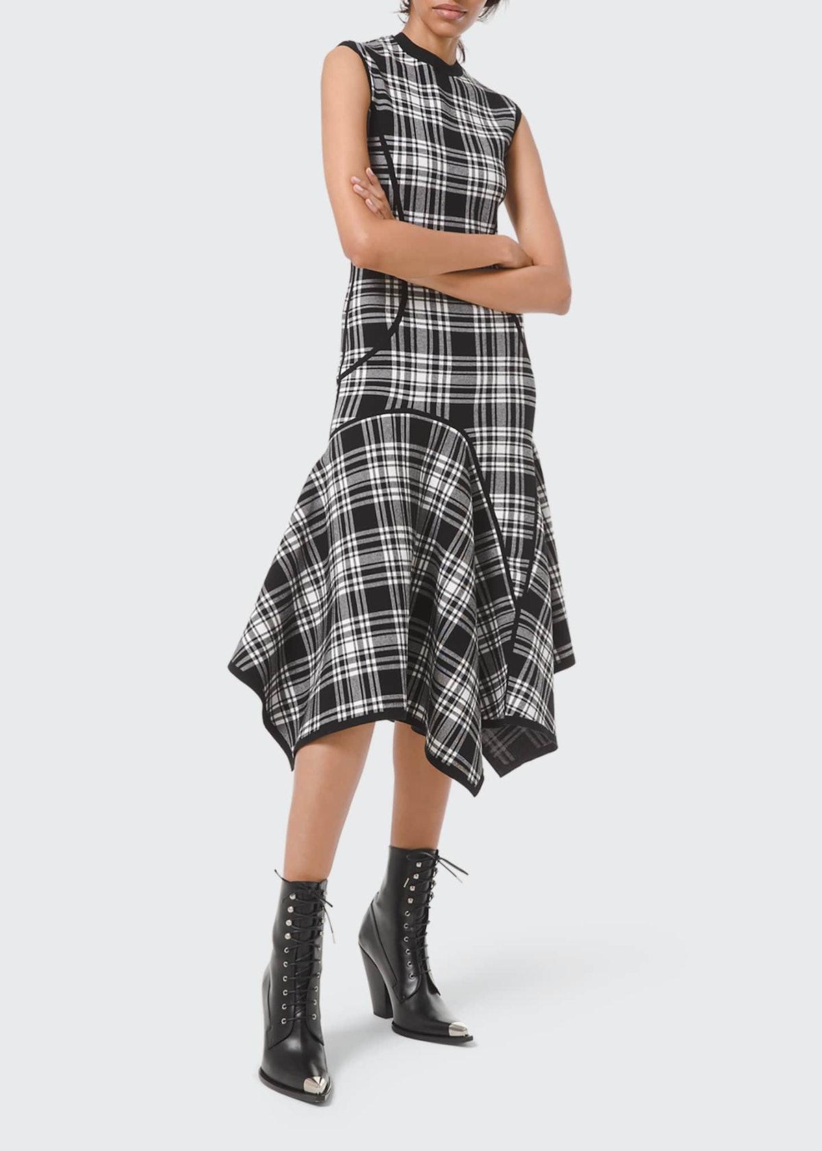 Double-Knit Plaid Handkerchief Dress