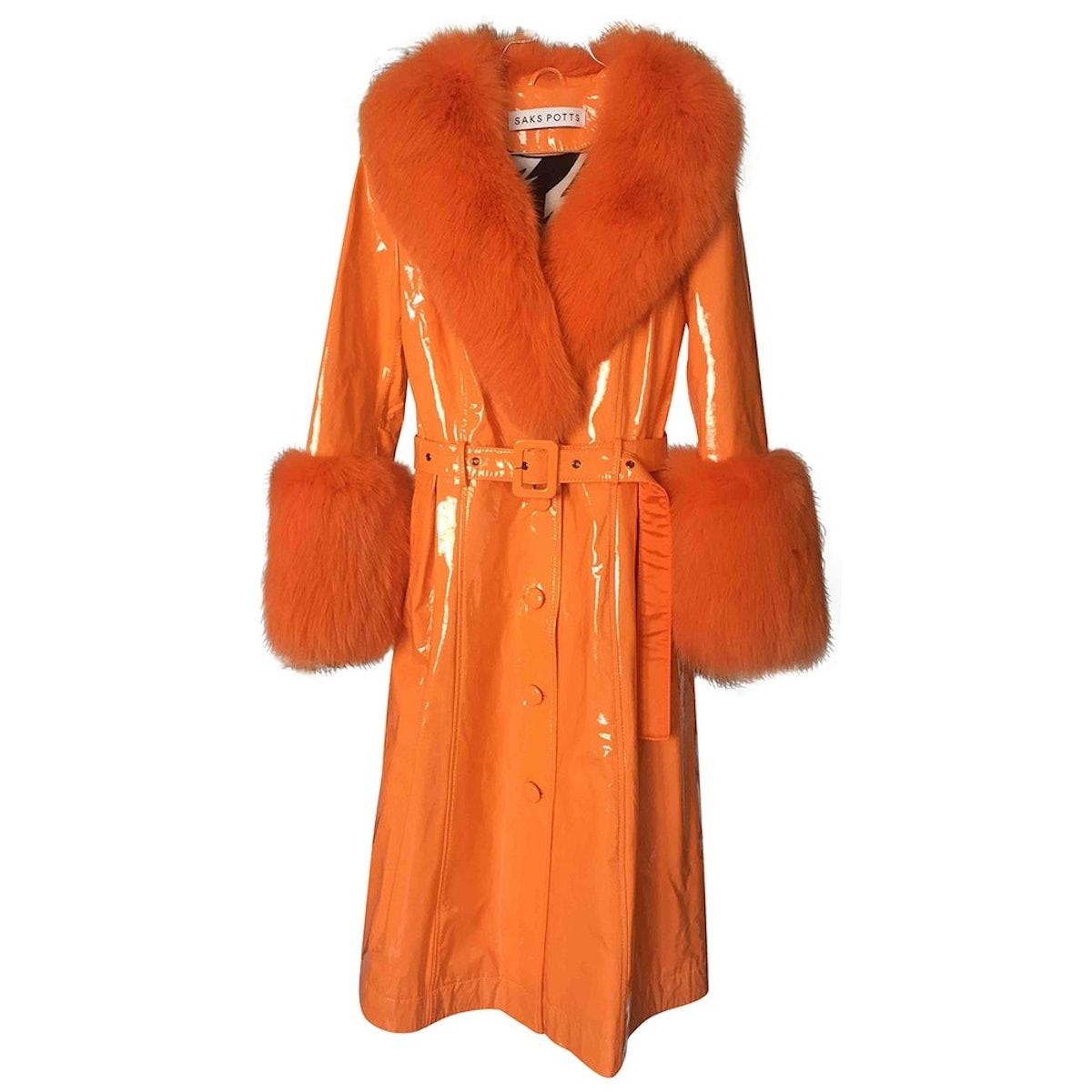 Leather Trench Coat - Orange