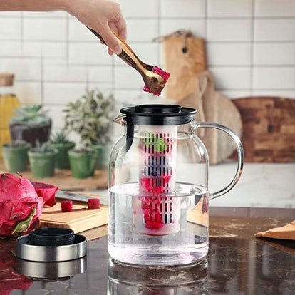Hiware Glass Fruit Infuser Water Pitcher With Removable Lid