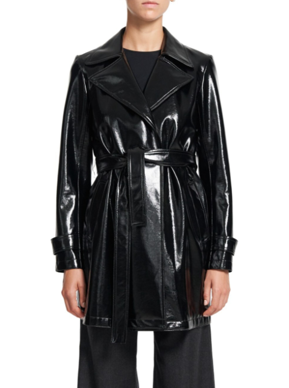 Oaklane Short Faux Patent Leather Trench Coat
